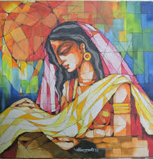 indian woman painting by artist pradip goswami acrylic canvas