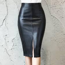 black faux leather mid waist midi pencil skirt