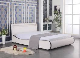 modern bedroom furniture led leather sleigh queen bed frame