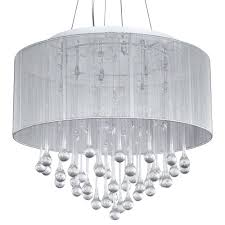 top 53 splendiferous loose chandelier crystal white fabric shade modern drum pendant light chrome finish with