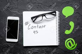 E mail Contact Us Concept With Internet Icons And Mobile On Work