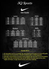 Nike Soccer Jersey Size Chart