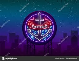 тату салон логотип в стиле неон неоновый знак эмблему символ
