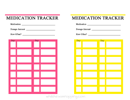 Free Printable Medication Tracker Tracking Chart Daily