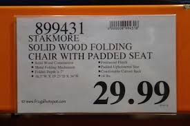wood folding chairs costco. Exellent Chairs Stakmore Solid Wood Folding Chair With Padded Seat Costco Price Inside Chairs C