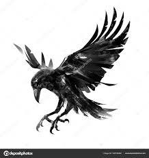 стилизованное изображение ворона рисование летит ворона на белом