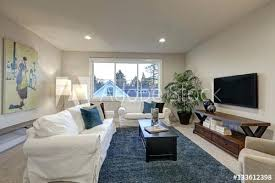 white and beige living room interior with blue accent rug area rugs red blue accent rug
