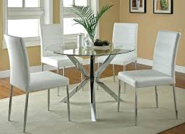 glass round dining table modern glass round table with white leather chairs for chic kitchen decorating glass round dining table