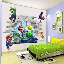 Mario Bedroom Decor 2015 Retail New Cartoon Children Games Super Mario 3d Art Wall