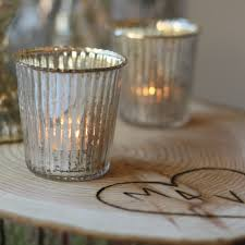 Wedding Tea Light Holders Ribbed Mercury Glass Tea Light Holders Silver