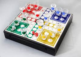 Wooden Ludo Board Game Ludo Wooden box with Ludo Game Board on top and 100 shot glasses 61