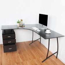 details about modern black l shaped desk corner computer pc office table and storage 3 drawers