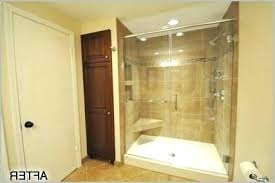 prefab shower pan fiberglass base and tile walls in traditional bathroom custom installation size preformed