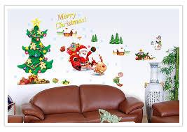 Christmas Wall Art Hot Sale Merry Christmas Xmas Tree Santa Claus Snowman Wall Decal