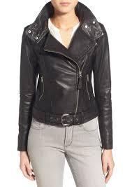 hania belted leather moto jacket