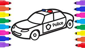 Small Picture How to Draw a Police Car Coloring Pages for Kids k Drawing