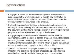 a presentation on copyright copyright infringement 3 introduction  copyright