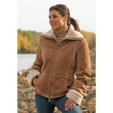 women s columbia faux shearling fleece sueded leather jacket camel