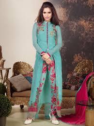 Front Open Salwar Designs Firozi Color Indian Designer Front Open Striaght Suit