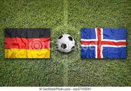 Leverkusens patrik schick konnte mit tschechien einen sieg feiern. Deutschland Gegen Island Flaggen Auf Dem Fussballplatz Deutschland Gegen Island Flaggen Auf Einem Grunen Fussballplatz Canstock
