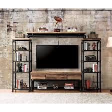 industrial tv cabinet. Contemporary Industrial Furniture Of America Herman Industrial Black Shelf Pier Cabinet 1 Side  With Tv Cabinet