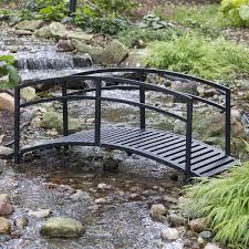Japanese Style Garden Bridges Sturdy 6 Foot Black Metal Garden Bridge With Double Arch Side