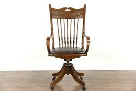 victorian office chair. Victorian Swivel Antique Adjustable 1910 Ash \u0026 Oak Desk Chair, Leather Seat Office Chair