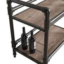 Metropolitan Dark Bronze Metal Pipe Mobile Bar Cart with Wood Shelves by  iNSPIRE Q Classic - Free Shipping Today - Overstock.com - 20448062