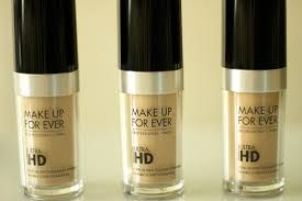 left to right make up for ever ultra hd invisible cover foundation in y225 marble y235 ivory beige and y245 soft sand
