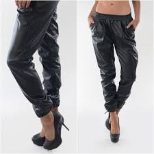2016 women s punk faux leather sweatpants joggers with pocket track lounge jogging sweat pants ankle chic baggy leather pants