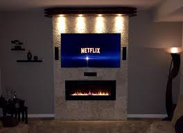image of linear wall mount gas fireplace
