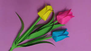 Making Of Flower With Paper How To Make Tulip Flower With Color Paper Diy Paper Flowers Making