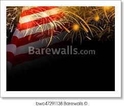 Usa Flag And Fireworks Background Art Print Poster