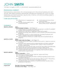 Resume English Business Resume For Study