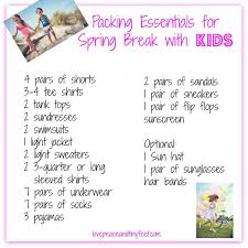 Packing Check List Packing Checklist For Spring Break With Kids Today Com