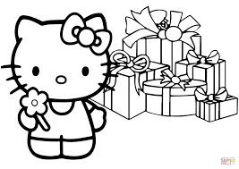 Small Picture Coloring Pages Hello Kitty Happy Christmas Coloring Page Free
