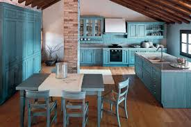 kitchen country blue kitchen idea with brick pillar and wooden