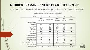 Nutrient Cost Full Life Cycle Sample Nutrient Schedule For Dwc Tomato