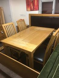 Solid oak dining table & 4 chairs free furniture delivery