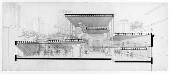 architecture building drawing. [Paul Rudolph\u0027s Architectural Office In Manhattan. 1964, Perspective Section Rendering, With Furnishings Architecture Building Drawing