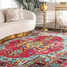 nuloom traditional vintage distressed area rug in multi pink yellow blue