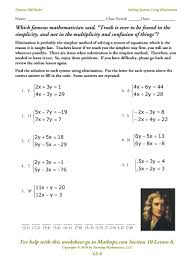 solving systems of equations worksheets cool