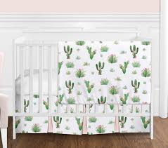 pink and green boho watercolor cactus fl baby girl crib bedding set without per by sweet jojo designs 4 pieces only 139 99