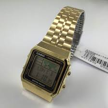 men s gold tone casio world time stainless steel watch a500wga 1