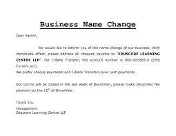 Change Of Business Name Letter Template Business Plan Template