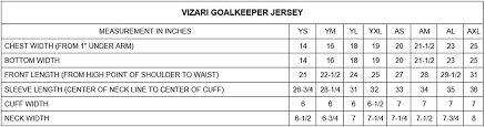 Vizari Size Chart Vizari Arroyo Goalkeeper Jersey Amazon In Sports Fitness