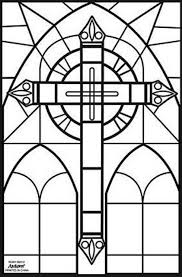 Stained Glass Cross Coloring Pages A A Work Crosses Stain Glass