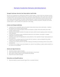 customer service job description sample resume sample resume  customer service job description sample resume