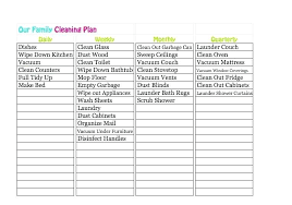 Kitchen Cleaning Schedule Free Download Office Template Proposal