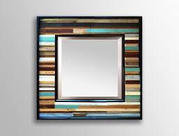 Reclaimed Wood Wall Art Blue Reclaimed Reflection Wood Wall Art Mirror Scrap Wood Designs